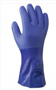 Gant de protection chimique enduction totale en PVC Bleu EN 388 4.1.2.1.X  SHOWA GROUP